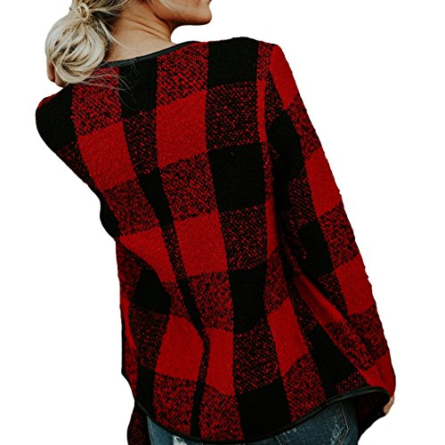 Shinekoo Women Cardigan Jacket Checked Plaid Open Front Coat Outwear by Shinekoo (Image #2)