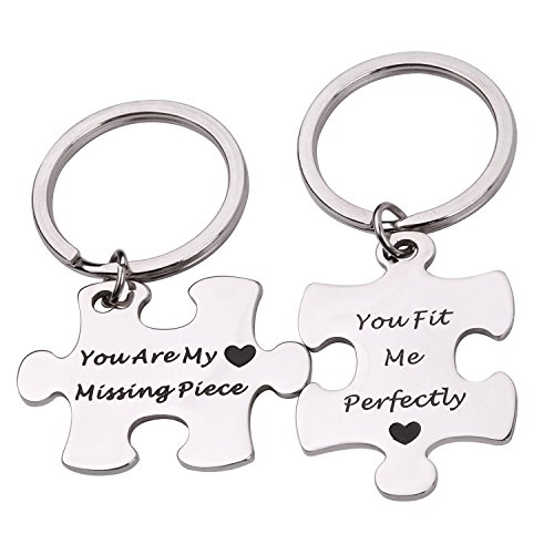 RUNXINTD Personalize Your Own His and Her Puzzle Piece Necklace Key Ring Set You Are My Missing Piece Personalized Message Jewelry (Key Ring)