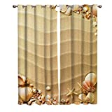 lovely seaside patio decor ideas Window Treatments Curtains Room Window Panel Set for Living/Bedroom,Nautical Beach Tropical Hawaiian Seashells Seaside Sea Stars Oysters Maldives Romantic Vacation Sand Theme 27.5 by 39 Inch, 2 Panels