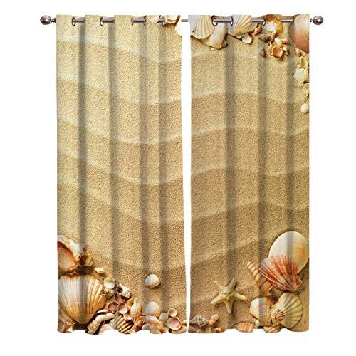 Window Treatments Curtains Room Window Panel Set for Living/Bedroom,Nautical Beach Tropical Hawaiian Seashells Seaside Sea Stars Oysters Maldives Romantic Vacation Sand Theme 27.5 by 39 Inch, 2 Panels