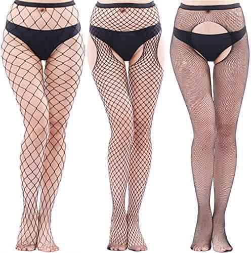 34c7eff1cb30a Womens Black Fishnet Lace High Waist Tights Suspender Pantyhose Stretchy  Thigh-High Stockings