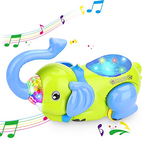 XREXS Musical Baby Toy,360°Tipping Bucket Elephant Car Toy Baby Sensory Toy,Portable Early Learning Electronics Toy for Toddler, Halloween Christmas Birthday -