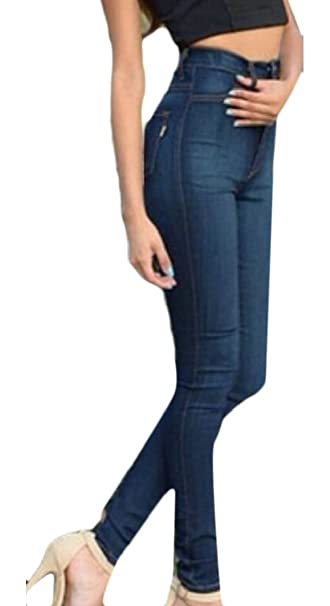 53d94554b8b8b Gaga Women s Plus-Size High Waisted Party Skinny Blue Stretchy Denim Jeans