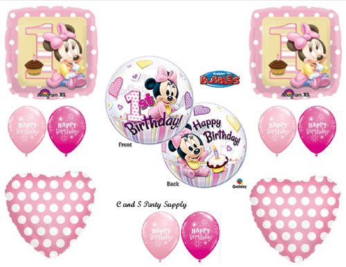 NEW!! Baby Minnie Mouse Birthday 1st First Party Balloons Decorations Supplies by Anagram -