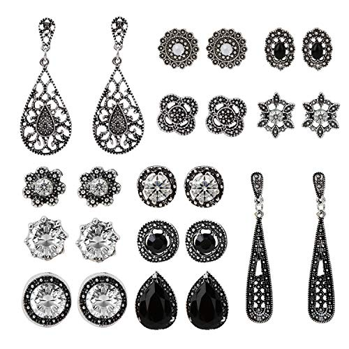 Zhepin 12-15 Pairs Multiple Stud Earrings Set Cute Vintage Earrings for Girls Women