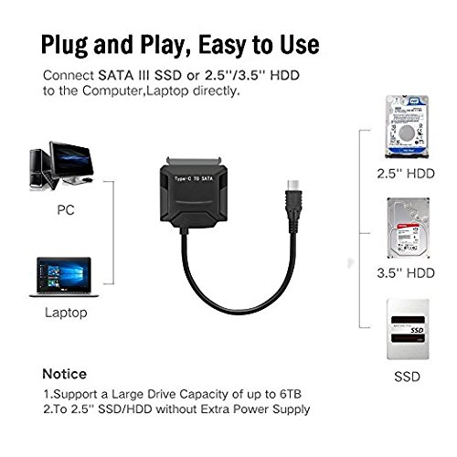 Duttek Type C to Sata Cable USB 3.1 to 22 Pin 2.5/3.5 inches Hard Disk Driver Convertor HDD SSD Adapter W/DC Port with 12V 3.5mm Power Connector Plug for Macbook(35cm) by Duttek (Image #5)