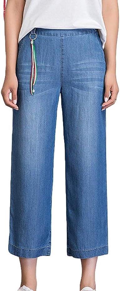 Pantalon Ancho Para Mujer Pantalones Casuales Pantalones Vaqueros De Cintura Sencillos Alta Slim Fit Bolsillos Laterales Jeans Anchos De Pierna Suelta Estilo Amazon Es Ropa Y Accesorios