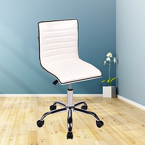 Swivel Mid Back Armless Ribbed Designer Task Chair PU Leather Soft Upholstery Office Chair White, Set of 2