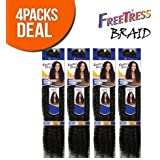 FreeTress Synthetic Hair Crochet Braids Water Wave Bulk 12 (4-Pack, 1) by Freetress