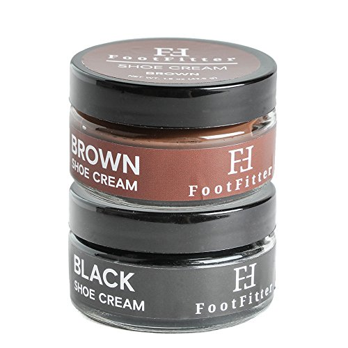 FootFitter Premium Shoe Cream Polish 2 Pack! Shoe and Boot Shine Cream! (Black/Brown)