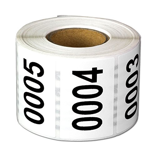 Consecutive Number Labels Self Adhesive Stickers 0001 to 0500 (White Black / 1.5 x 1 Inch) - 500 Labels Per Pack