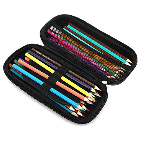 KAYOND Hard Pencil Case PC Hard Shell case for Executive Fountain Pen,Ballpoint Pen,Stylus Touch Pen,Durable Students Stationery with Zipper (Black)