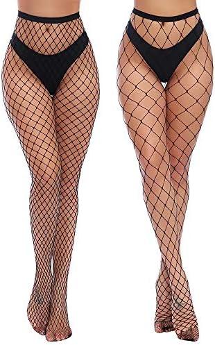 Charmnight Womens High Waist Tights Fishnet Stockings Thigh High Pantyhose