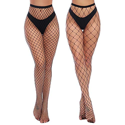 Charmnight Womens High Waist Tights Fishnet Stockings Thigh High Pantyhose 2 Pair(1), Black-g5, - Medium Fishnet