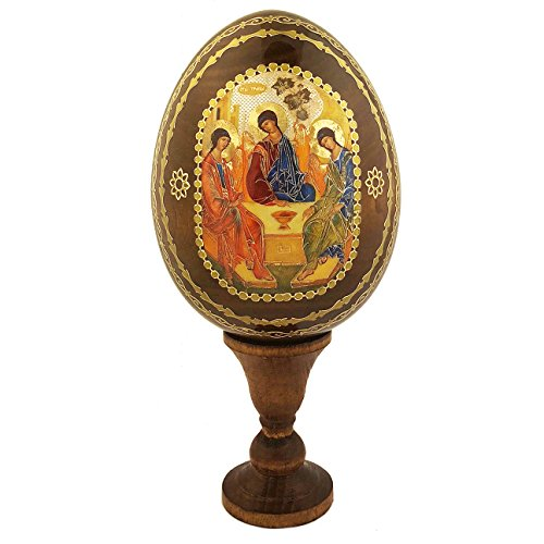 Russian Orthodox Holy Trinity Wooden Icon Egg on Stand 6 1/4 Inch