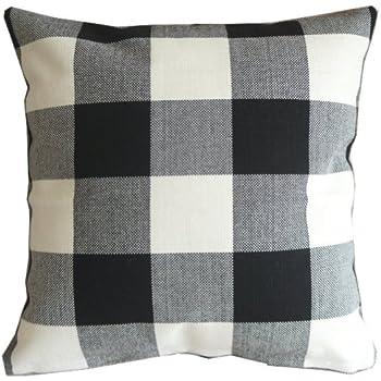 Black White Checkers Plaids Throw Pillow Case Sham Decor Cushion Covers Square 18x18 Inch Linen