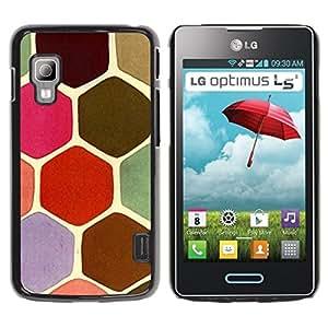 TopCaseStore / la caja del caucho duro de la cubierta de protección de la piel - Turtle Shell Pattern Pink Scales Brown - LG Optimus L5 II Dual E455 E460