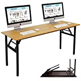 """Need Computer Desk 55"""" Office Desk Folding Table Computer Table Workstation No Install Needed, Teak&Black AC5BB-140-CA"""