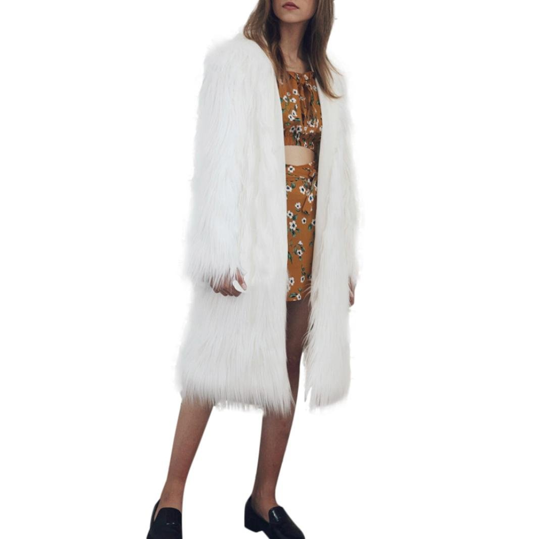 Kimloog Hot Sale!Women's Warm Fluffy Faux Fur Cardigan Open Front Coat Jacket Winter Parka Outerwear (S, White1)