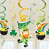 St Patricks Day Hanging Swirl Decorations Value Pack - 12 Pieces