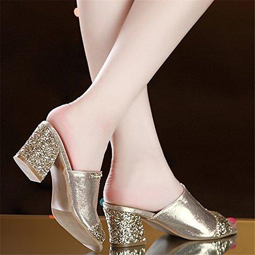 ZPPZZP Presidente, estate, sandali, pantofole a tacco alto, tacco che l'oro , 37EU