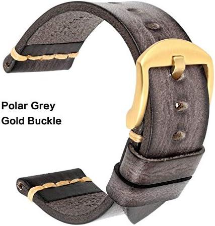 TGBZ ユニバーサル時計手作り時計バンド20ミリメートル21ミリメートル22ミリメートル23ミリメートル24ミリメートルレザー腕時計バンド (Band Color : PolarGrey Gold, Band Width : 20mm)
