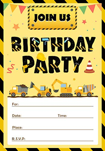 30 Pack Construction Birthday Invitations Dump Truck Party Invite Cards Party Supplies 15 PCS Invitations with 15 PCS Envelopes and Seal Sticker