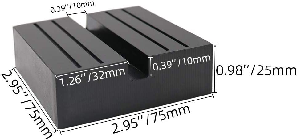 2pcs 5cm Car Universal Slotted Frame Rail Floor Jack Guard Adapter Lift Rubber Pad