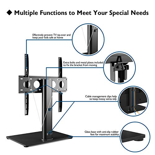 "1home Universal Table Top Pedestal TV Stand with Bracket for 32""-50"" LCD/LED/Plasma TVs"