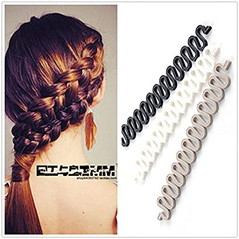 ANGELANGELA 2Pc Wonder French Magic Hair Clip Braider Braid Stylist Queue Twist Plait Hair Braiding Tool Holder Roller DIY Bun Maker Hairstyle Styling Accessory