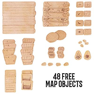 The Master's Atlas (Blank/Parchment) | 44 Reversible Dry & Wet Erase Map Grid Tiles | 48 Dungeon Object Tokens: Treasure, Doors, Stairs and More | RPG Tabletop Role Playing Mat for Fantasy Gaming: Toys & Games