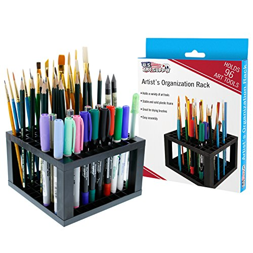 Art Supply Holder (U.S. Art Supply 96 Hole Plastic Pencil & Brush Holder - Desk Stand Organizer Holder for Pens, Paint Brushes, Colored Pencils, Markers)