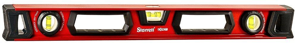 Starrett Exact KLIX24-N Aluminum I-beam Level with 3 Plastic 360° Vials, 24'' Length