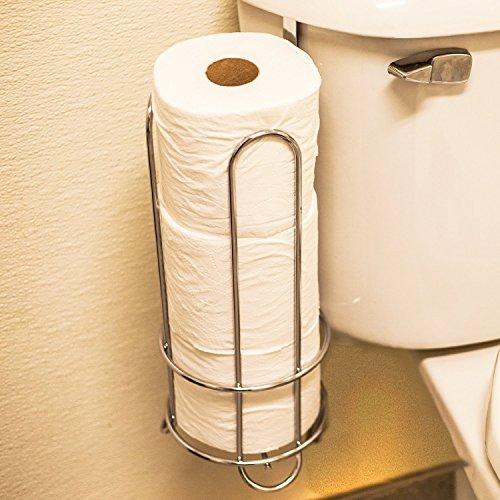 Huji chrome finish modern design toilet paper roll bathroom holder rack storage canister space - Toilet roll canister ...