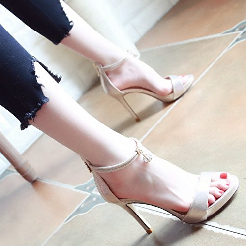 Calidad Golden YMFIE Alta Verano Zapatos Sexy Toe Cremalleras de Europeo Ladies' Sandalias Toe y qBO7qw