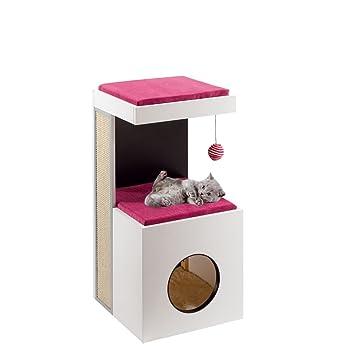 Feplast Mueble de Madera para Gatos Diablo, con Casita y Área Rascadora y Juego, 40 x 40 x 80 Cm, Negro: Amazon.es: Productos para mascotas