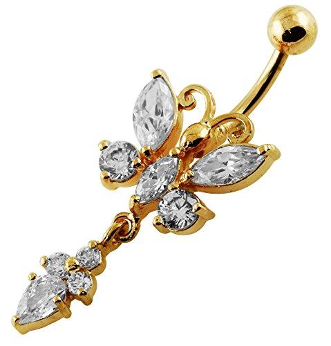 Or 18 carats plaqué sur clair CZ pierres précieuses Trendy papillon ballants 925 Sterling Silver ventre Bar