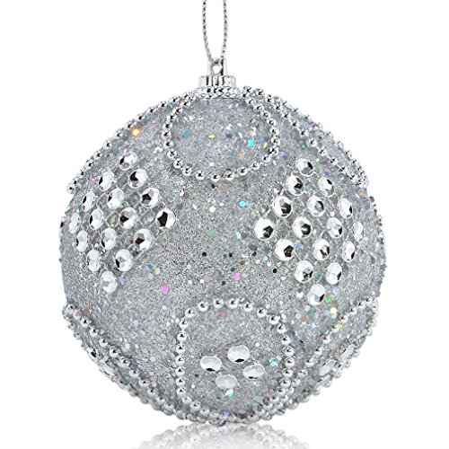 Wire Bra Carnival Costumes (LED Christmas Hats,Hemlock Christmas Rhinestone Glitter Baubles Balls Xmas Tree Ornament Decoration (Grey))