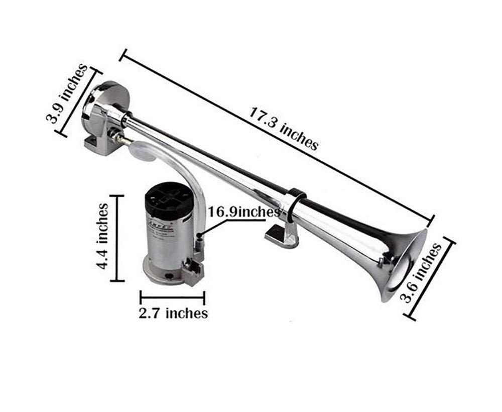 Chrome Zink Single Trumpet Air Horn for Any 12V//24V Fahrzeuge Waitinsd Air Horn