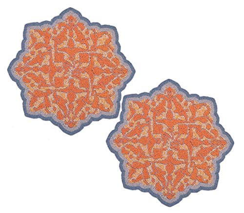 Decozen Set of 2 Embroidered Orange Beaded Placemats Satin Back Lining For Table Home Décor For Casual Interiors Round Placemats in Medallion Shape 15 x 15 -