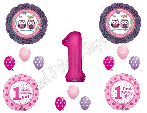 1st Birthday OWL PAL Party Balloons Decoration Supplies First Woodland Purple]()