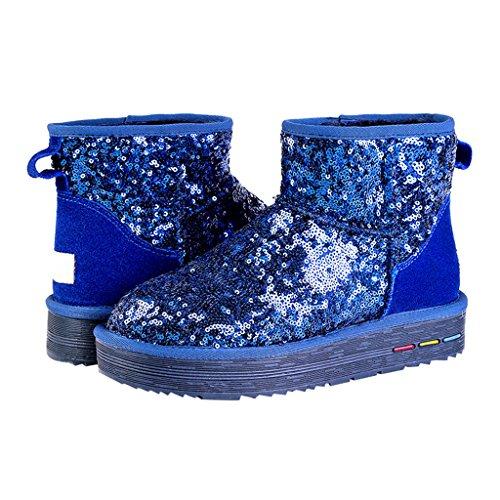 Boot Short Optimal Women's Winter Blue Classic Snow Sparkles xqYfYwt8g