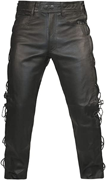 reasonable price new product good selling Skintan Mens Leather Lace Sided Trousers Jeans - Available in 29