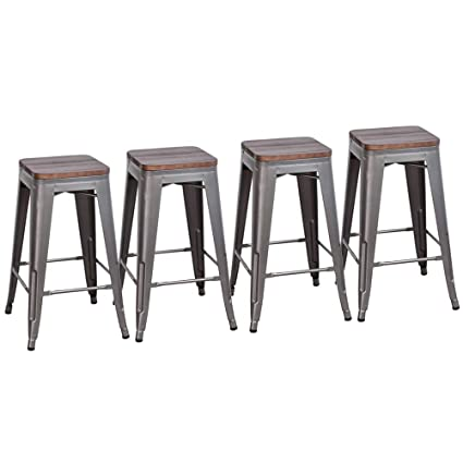 Phenomenal Dekea 30 Inch Bar Stools With Wooden Top Counter Height Metal Stool Set Of 4 For Kitchen Or Indoor Outdoor Barstools Backless Gunmetal Creativecarmelina Interior Chair Design Creativecarmelinacom