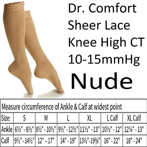 Dr. Comfort Sheer Lace Hosiery for Women Knee High CT 10-15 mmHg Nude Small (Dr Comfort Shoes For Women Knee)