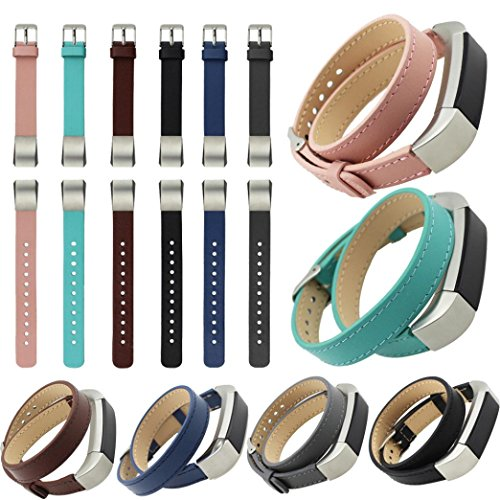 Peanutcool Double Tour Leather Watch Band Strap Bracelet For Fitbit Alta HR (Brown) by Peanutcool (Image #3)