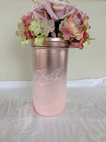rustic chic rose gold and pink ombre pint and a half size mason jar centerpieces