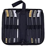 BOOSTEADY Gun Cleaning Brush & Pick Kit in Zippered Organizer Carry Case (8 Pieces) - Double End Brass Steel Nylon Bristle Brushes & Metal Polymer Picks