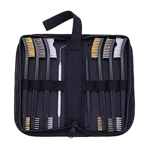 Brass Gun Case - BOOSTEADY Gun Cleaning Brush & Pick Kit in Zippered Organizer Carry Case (8 Pieces) - Double End Brass Steel Nylon Bristle Brushes & Metal Polymer Picks
