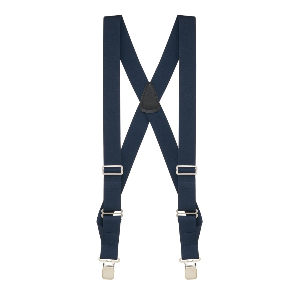 Suspender Store Mens Navy Side Clip Suspenders, 1.5-Inch Wide - Construction Clip